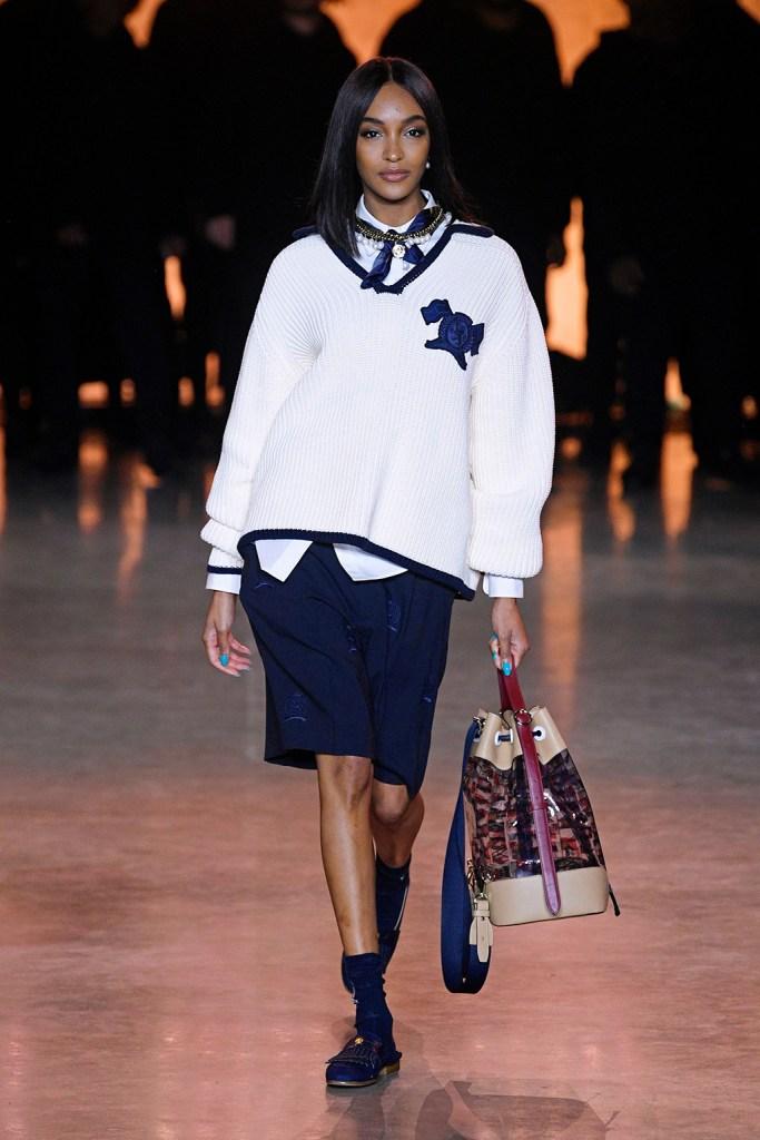 Jourdan Dunn, runway, shorts, sweater, handbag, on the catwalkTommy Hilfiger show, Runway, Fall Winter 2020, London Fashion Week, UK - 16 Feb 2020