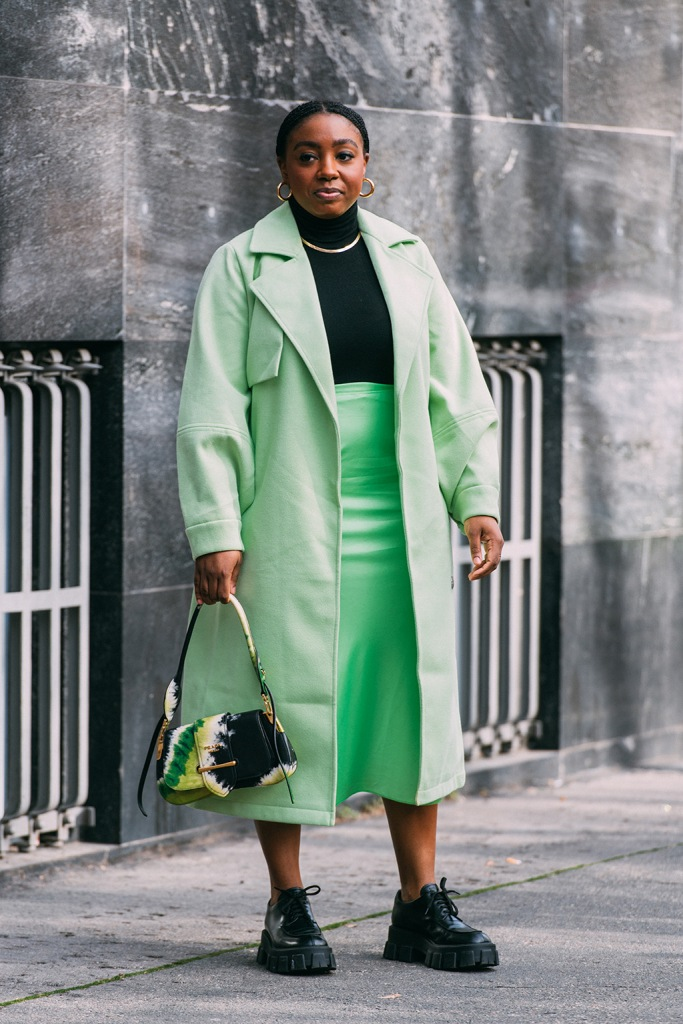 Lindsay Peoples Wagner , prada, street style, shoes, green skirt