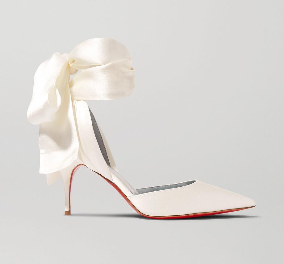 christian louboutin, satin heels