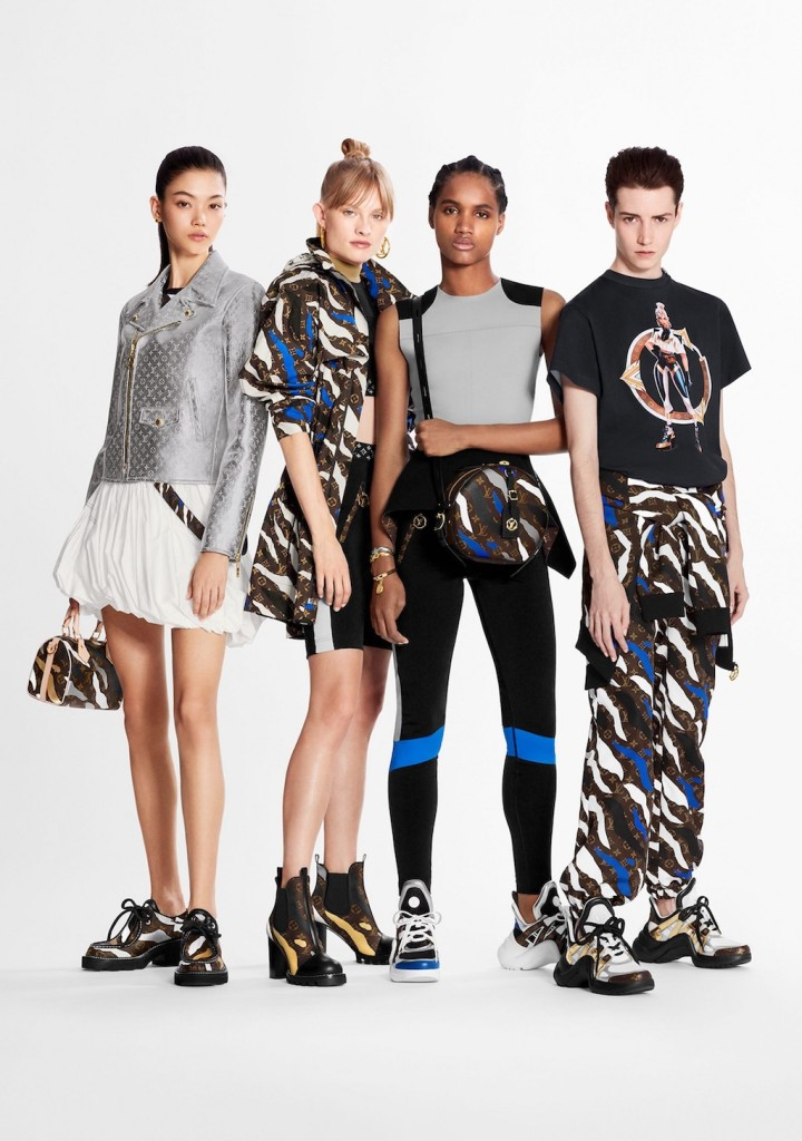 Models wearing the Louis Vuitton x League of Legends Collection.