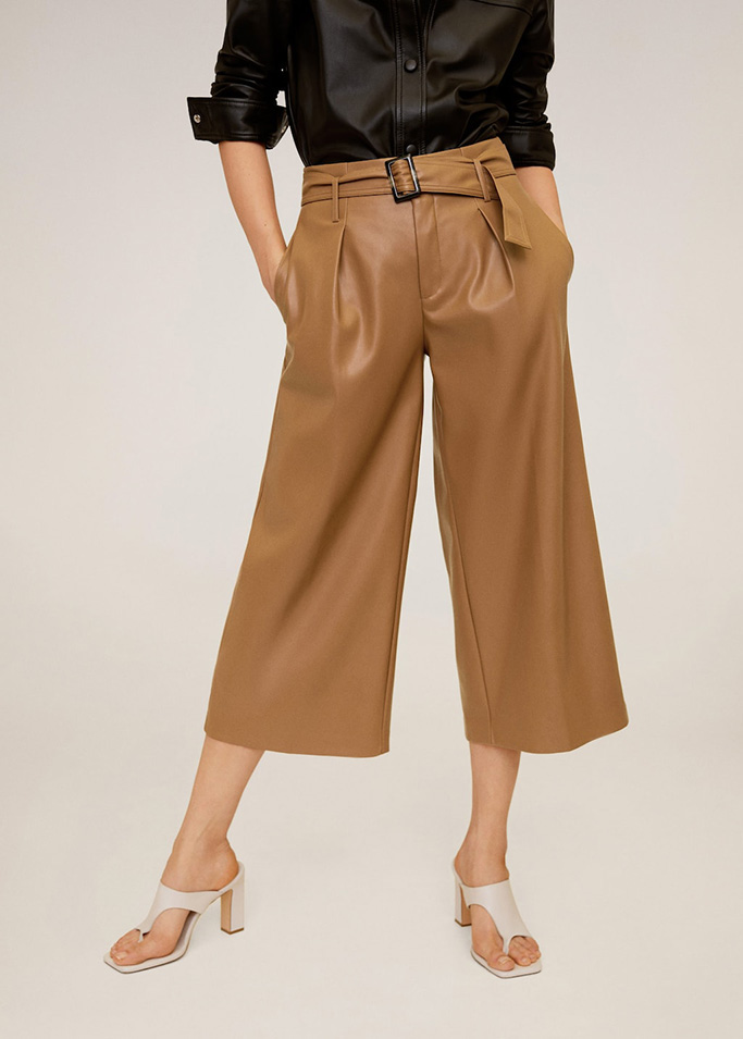 Mango neutral cropped pants