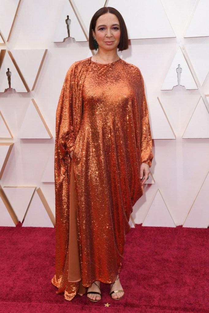 Maya Rudolph, orange dress, red carpet, oscars, 2020