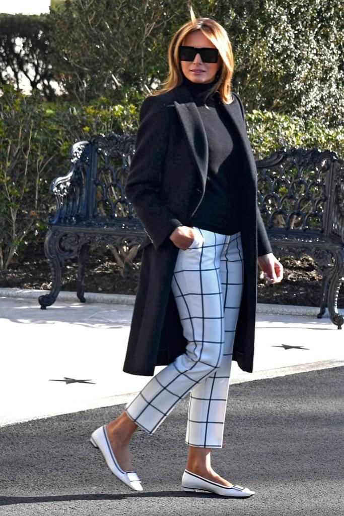 Melania Trump, white flats, roger vivier shoes, white house, checked pants, black coat, celebrity style, flotus