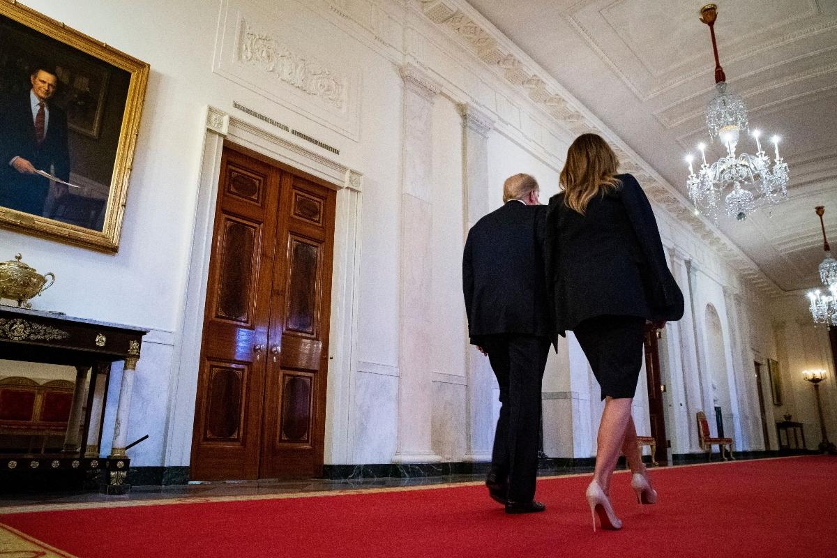 melania trump, donald trump, white house, impeachment, black, white, louboutin