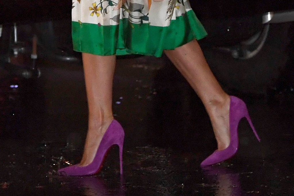 Melania Trump, christian louboutin, purple heels, celebrity style, florida