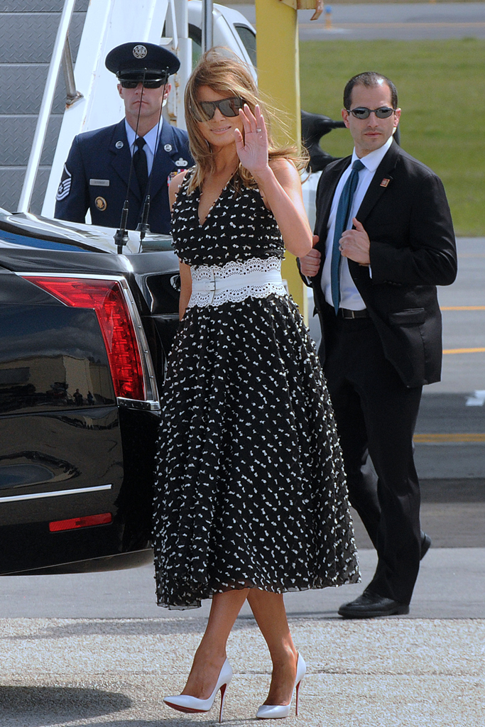 Melania Trump , dior dress, alaia belt, christian louboutin heels, white pumps, stilettos, daytona 500, daytona beach