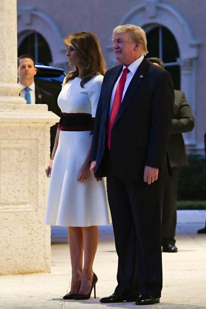 Melania Trump, super bowl party, mar-a-lago, palm beach, fla, super bowl 54, white dress, stilettos