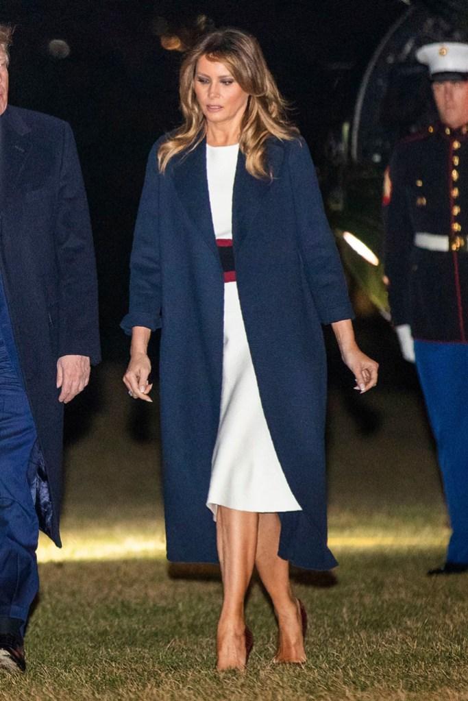Melania Trump, white house lawn, celebrity style, atelier caito for herve pierre dress, stilettos, pumps, washington, dc, flotus, first lady