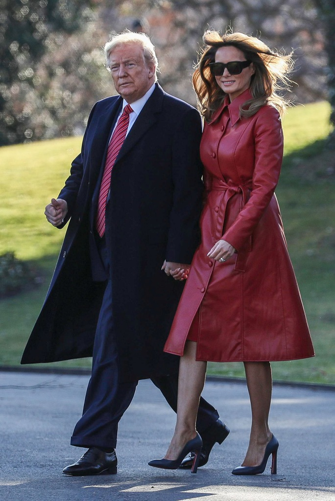 flotus, melania trump, red leather trench coat, les reveries, christian louboutin agneska pumps, US President Donald Trump and First Lady Melania Trump walk on the South Lawn of the White House before boarding Marine One, to spend the weekend in his Mar-a-Lago.US President Donald Trump departs the White House, Washington DC, USA - 14 Feb 2020