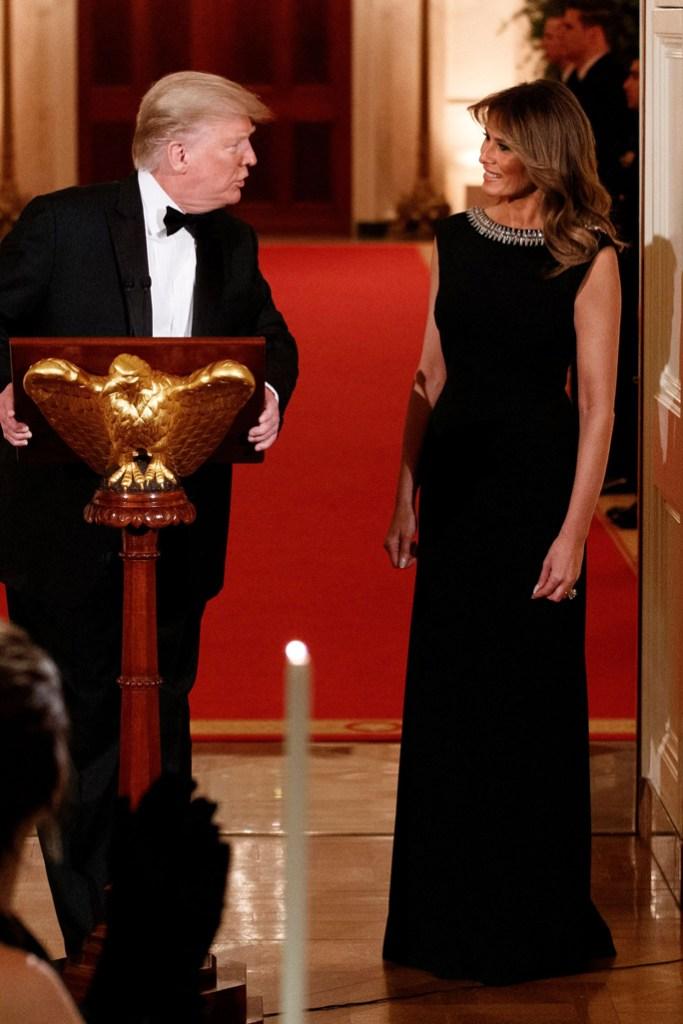 donald trump, melania trump, flotus, first lady, black gown, white house, washington dc