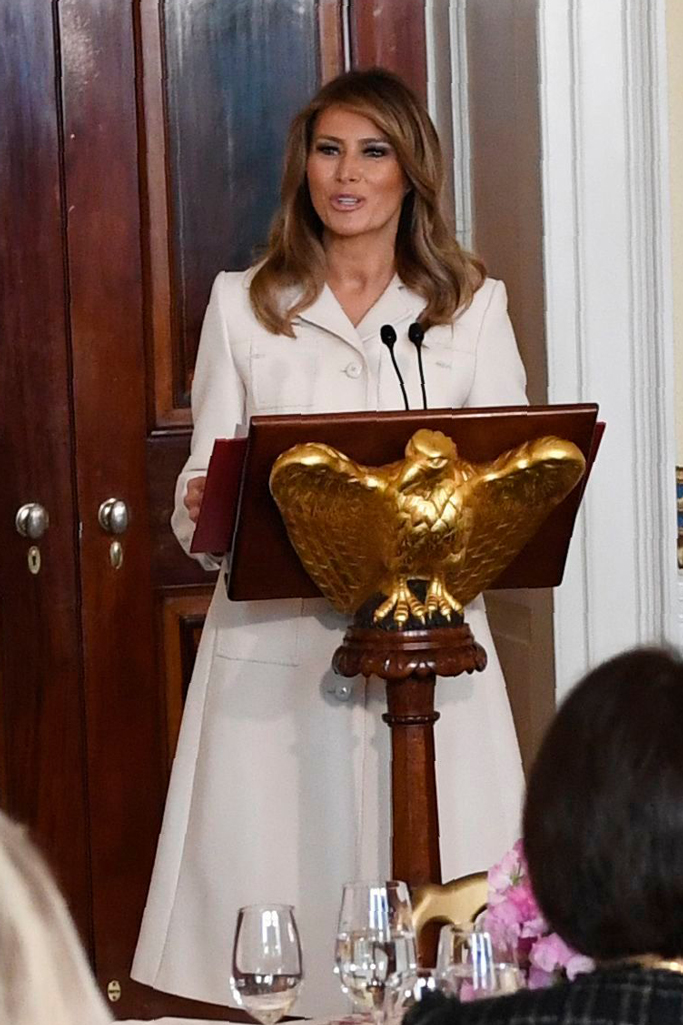 Melania Trump, first lady, white house, governors spouses luncheon, gucci coat, white coat