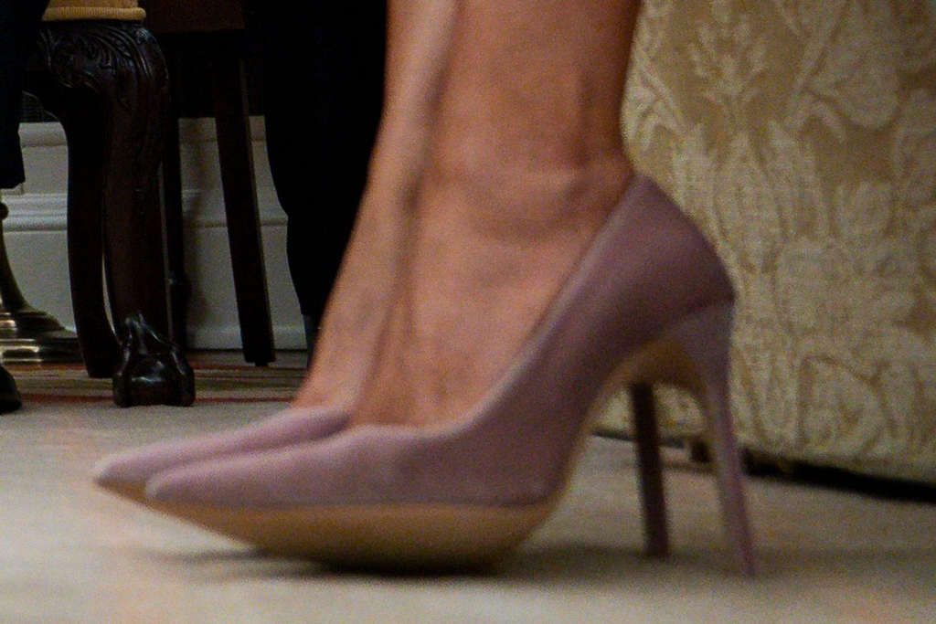 Melania Trump, first lady, pink pumps, celebrity style, white house, february 2020