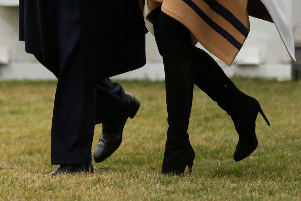 Melania Trump, black boots, celebrity style, white house lawn,