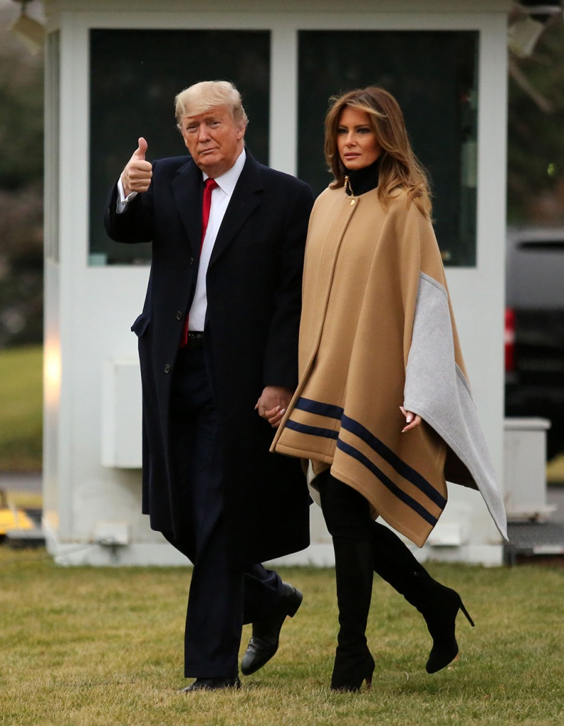 flotus, melania trump, chloe cape coat, black boots, stilettos, celebrity style, US President Donald J. Trump and First Lady Melania Trump depart the South Lawn of the White House for a weekend away at their Mar-a-Lago resort, in Washington, DC, USA, 31 January 2020.Donald and Melania Trump depart the White House, Washington, USA - 31 Jan 2020