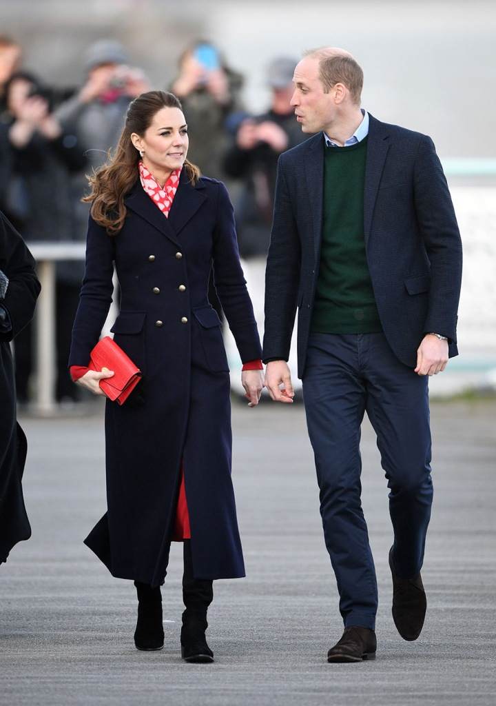kate middleton, Catherine Duchess of Cambridge and Prince William visit to RNLI Mumbles Lifeboat StationPrince William and Catherine Duchess of Cambridge visit to South Wales, UK - 04 Feb 2020Wearing Hobbs, Bag By Mulberry, Scarf By Beulah London, Shoes By Stuart Weitzman