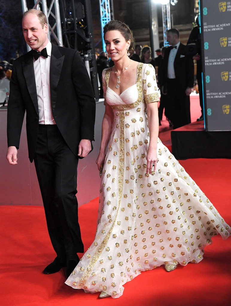 kate middleton, alexander mcqueen dress, white and gold gown, celebrity style, red carpet, gold pumps, Prince William and Catherine Duchess of Cambridge73rd British Academy Film Awards, Arrivals, Royal Albert Hall, London, UK - 02 Feb 2020Wearing Alexander McQueen, Worn beforePrince William and Catherine Duchess of Cambridge73rd British Academy Film Awards, Arrivals, Royal Albert Hall, London, UK - 02 Feb 2020Wearing Alexander McQueen, Worn before