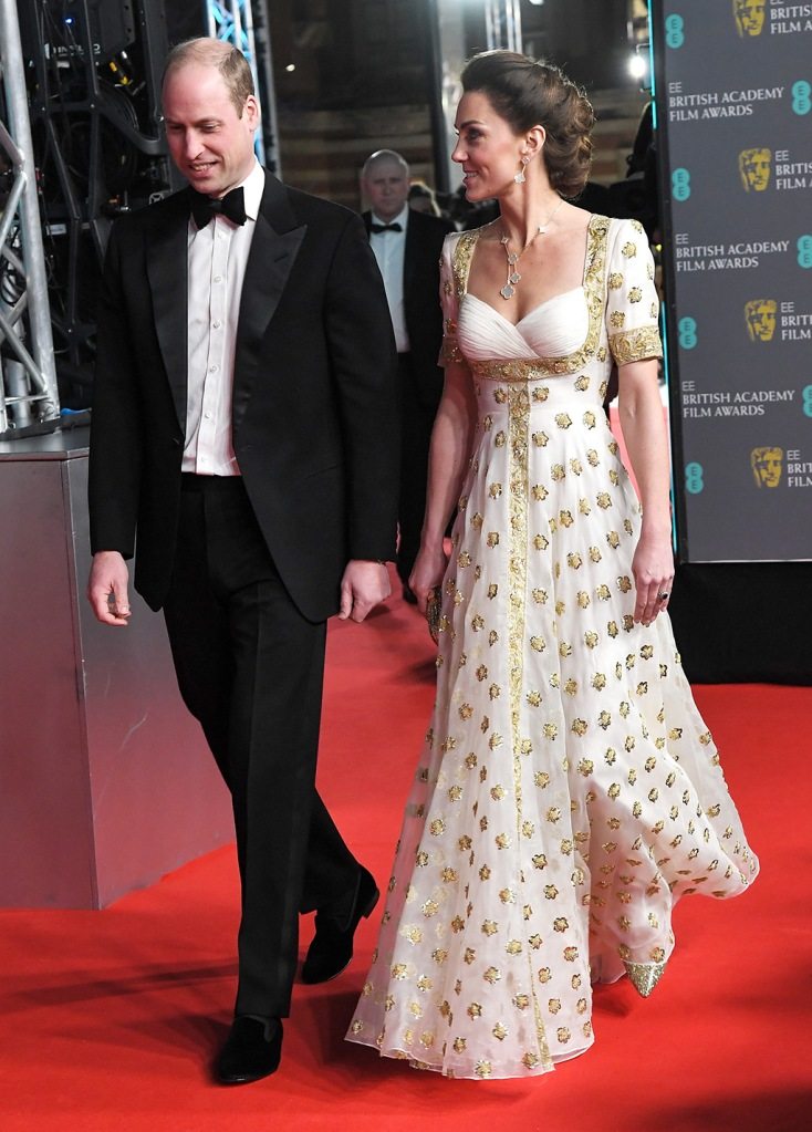 kate middleton, alexander mcqueen dress, white and gold gown, celebrity style, red carpet, gold pumps, Prince William and Catherine Duchess of Cambridge73rd British Academy Film Awards, Arrivals, Royal Albert Hall, London, UK - 02 Feb 2020Wearing Alexander McQueen, Worn before