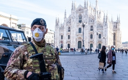 Military in Piazza Duomo wear the