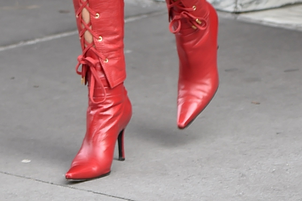 Miley Cyrus, red shoes, ankle boots, celebrity style, street style,