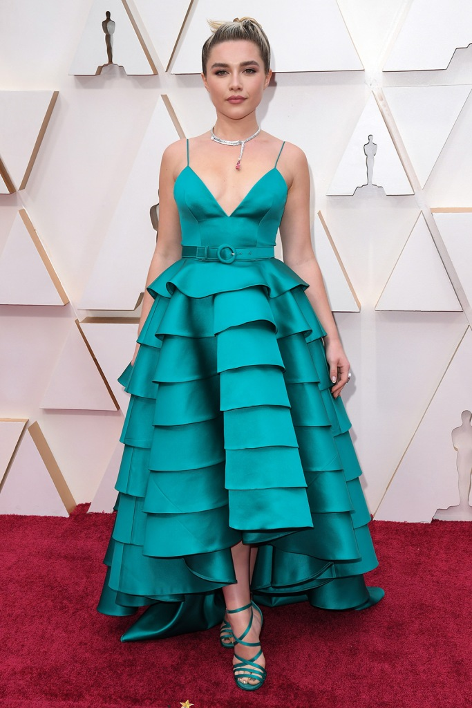 Florence Pugh, teal, louis vuitton, gown, sandals, 92nd Annual Academy Awards, Arrivals, Los Angeles, USA - 09 Feb 2020