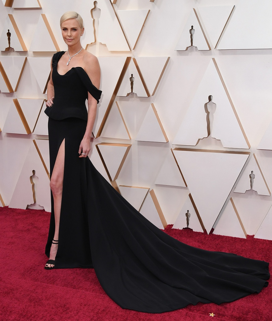 Charlize Theron, christian dior, black dress, strappy sandals, tiffany and co jewels, 92nd Annual Academy Awards, Arrivals, Los Angeles, USA - 09 Feb 2020Charlize Theron92nd Annual Academy Awards, Arrivals, Los Angeles, USA - 09 Feb 2020