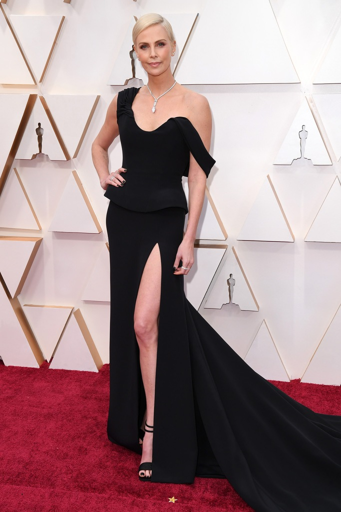Charlize Theron, christian dior, black dress, strappy sandals, tiffany and co jewels, 92nd Annual Academy Awards, Arrivals, Los Angeles, USA - 09 Feb 2020