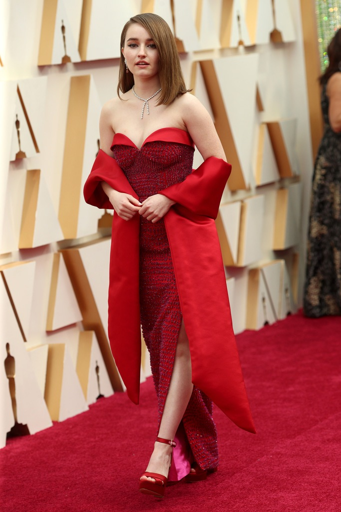Kaitlyn Dever, oscars, louis vuitton gown, red dress, aldo shoes, platform heels, 92nd Annual Academy Awards, Arrivals, Los Angeles, USA - 09 Feb 2020Wearing Louis Vuitton, Custom