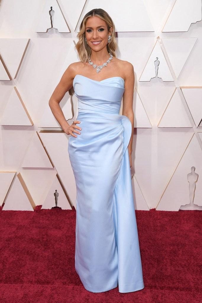 Kristin Cavallari, Valdrin Sahiti dress, blue gown, rene caovilla sandals, diamond jewelry, 92nd Annual Academy Awards, Arrivals, Los Angeles, USA - 09 Feb 2020