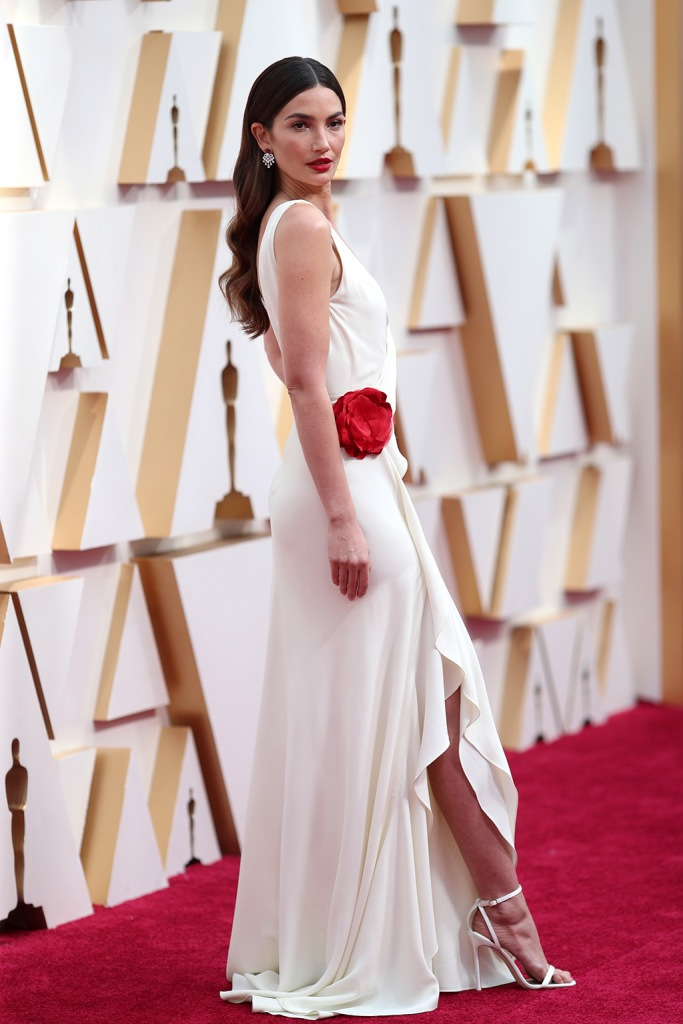 Lily Aldridge, white dress, white sandals, celebrity style, red capret, 92nd Annual Academy Awards, Arrivals, Los Angeles, USA - 09 Feb 2020