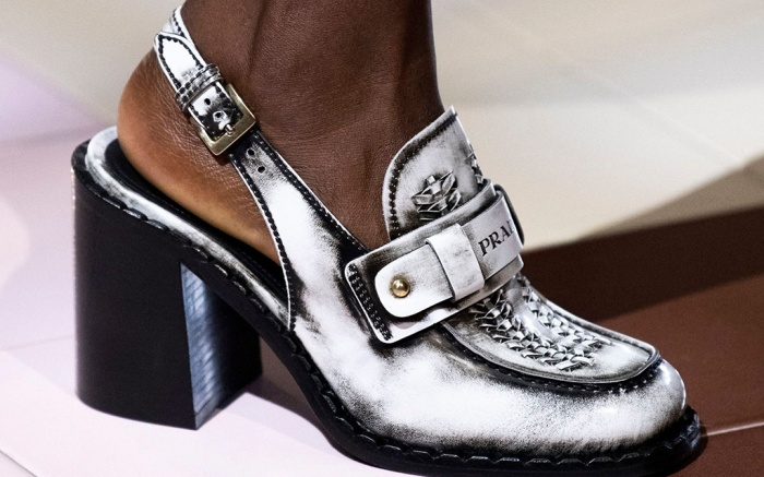 Model on the catwalk, shoe detailPrada show, Runway, Spring Summer 2020, Milan Fashion Week, Italy - 18 Sep 2019