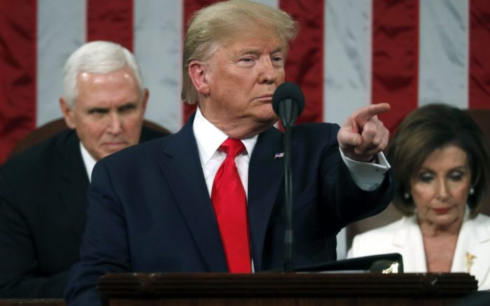 US President Donald Trump (L) delivers his State of the Union address to a joint session of the US Congress in the House chamber of the US Capitol in Washington, DC, USA, 04 February 2020.US President Donald J. Trump State of the Union address in DC, Washington, USA - 04 Feb 2020