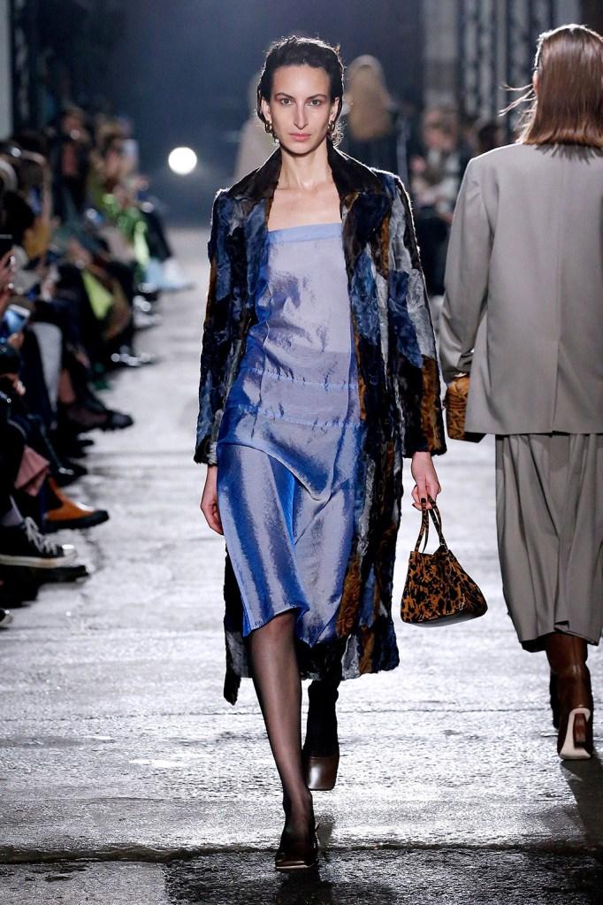 satin dress, runway, Rejina Pyo, lfw, Model on the catwalkRejina Pyo show, Runway, Fall Winter 2020, London Fashion Week, UK - 15 Feb 2020