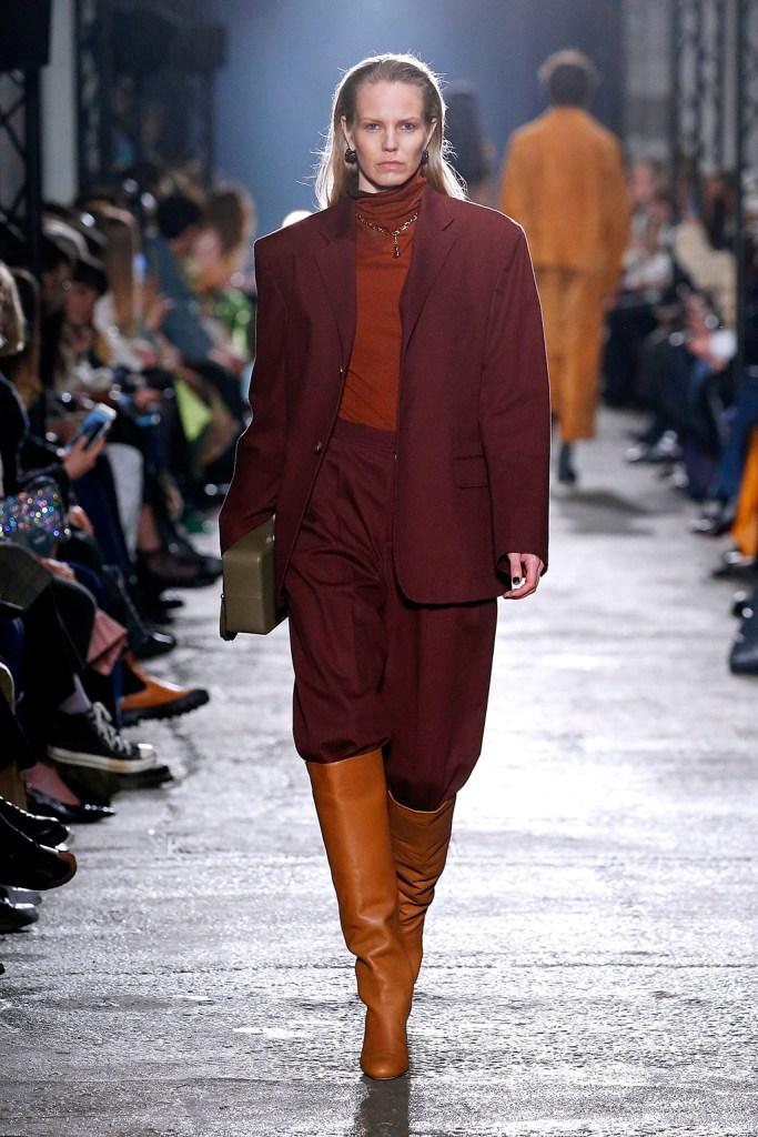 pantsuit, thigh-high boots, runway, lfw, Model on the catwalkRejina Pyo show, Runway, Fall Winter 2020, London Fashion Week, UK - 15 Feb 2020