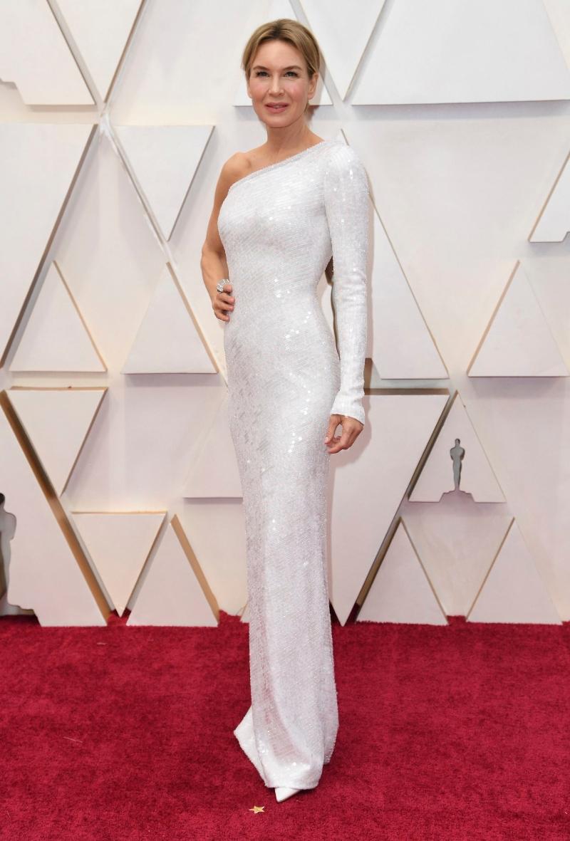 renee zellweger, armani prive, white dress, oscars 2020