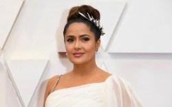 salma hayek, oscars, white dress, gucci