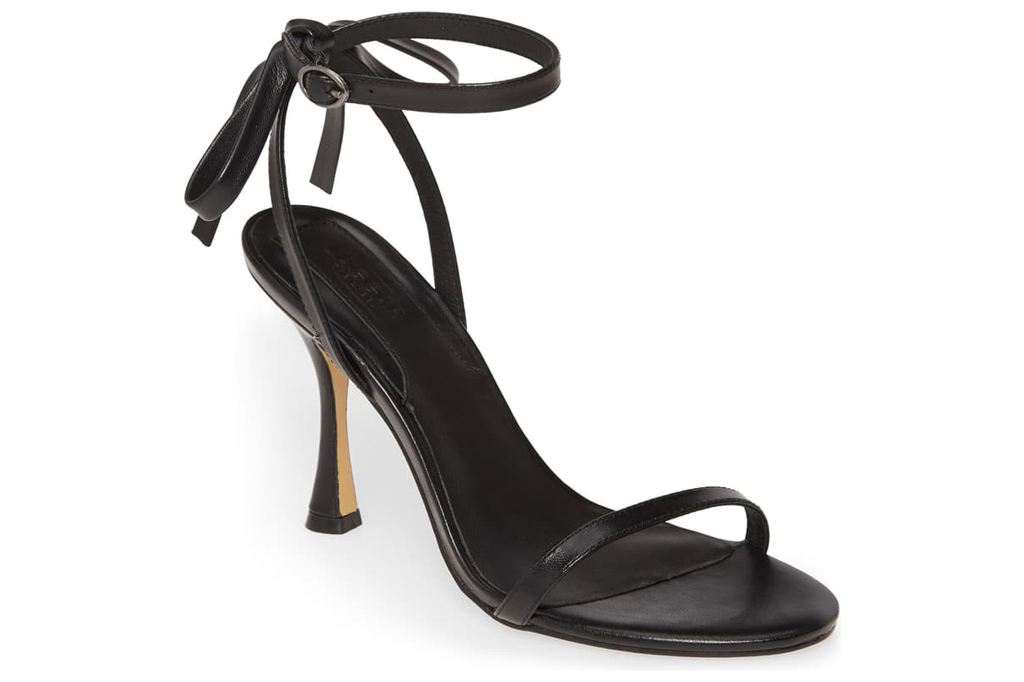 """JAGGAR Bow Ankle Strap Sandal, Main, color, BLACK SIZE INFO Runs small; order next size up. DETAILS & CARE A slender leather bow at the back adds a jauntily chic touch to a leather sandal lifted by a flared heel. Heel style: stiletto Toe style: open toe 4"""" heel (size 39) 3"""" strap height Adjustable strap with buckle closure Leather upper, lining and sole Imported Women's Shoes Item #5903122 Helpful info: How to Measure Heel Heights See details and tips from a salesperson (video) Free Shipping & Returns See more Bow Ankle Strap Sandal"""