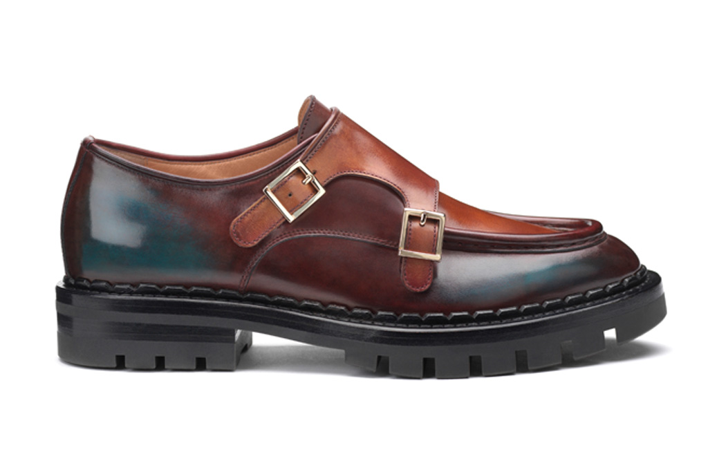 santoni, loafer, double buckle, MFW, milan fashion week, blue, fall 20, fw20