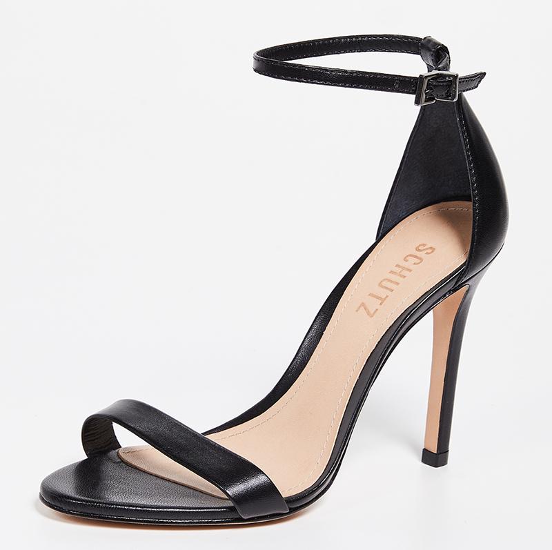 Schutz Cadey Lee sandals, black sandals, thin strap