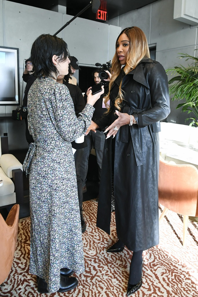 Serena Williams, nyfw, leather trench coat, tights, black pumps, stilettos, high heels, celebrity fashion, is interviewed about her collectionS by Serena presentation, Spring 2020, New York Fashion Week, USA - 12 Feb 2020