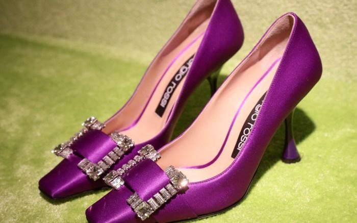 sergio rossi, purple, green, glitter, square, fall, heel, presented at Milan Fashion Week,