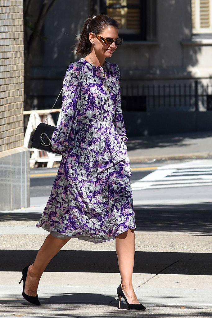 Katie Holmes purple dress outfit