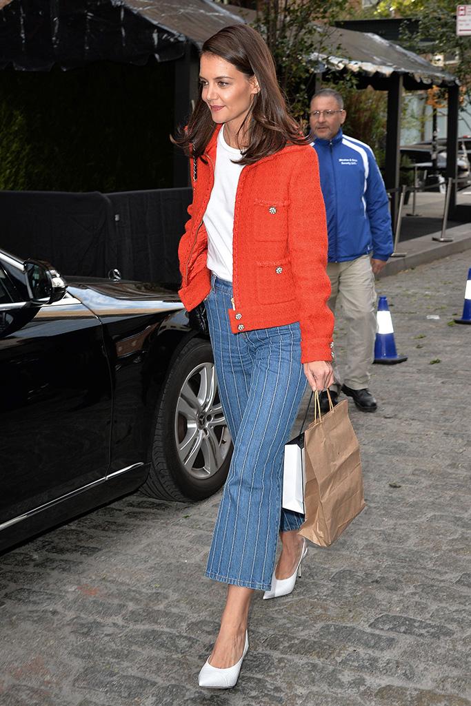 Katie Holmes slingback heels outfit