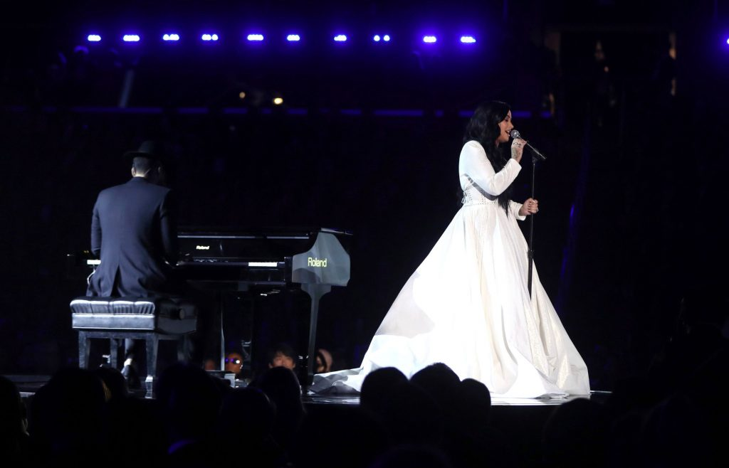 "Demi Lovato performs ""Anyone"" at the 62nd annual Grammy Awards, in Los Angeles62nd Annual Grammy Awards - Show, Los Angeles, USA - 26 Jan 2020"
