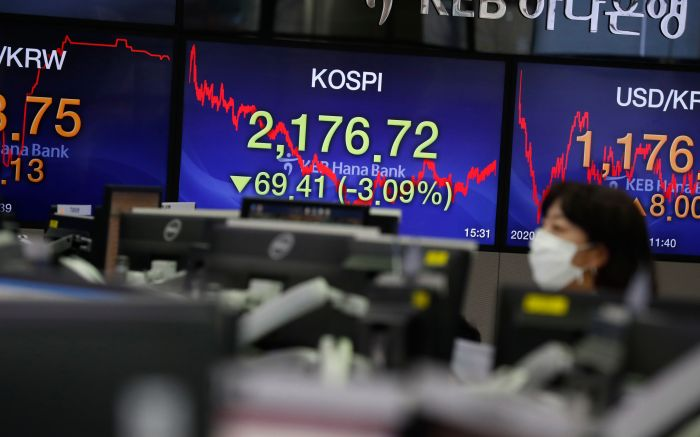 A person wearing a protective mask works in front of monitors, displaying the KOSPI, at the KEB Hana Bank in Seoul, South Korea, 28 January 2020. The benchmark South Korea Composite Stock Price Index (KOSPI) plunged 69.41 points, or 3.09 percent, to close at 2,155.07. Reports blamed the decline on concerns over the spread of the coronavirus.Stock market declines in South Korea, Seoul, Republic Of - 28 Jan 2020