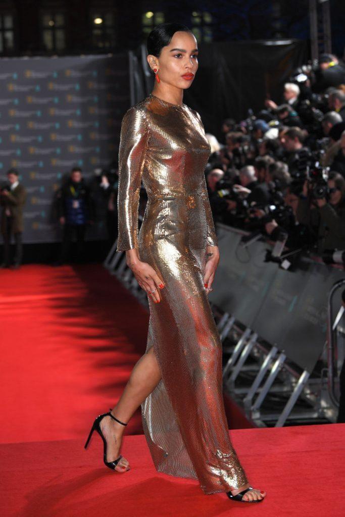 Zoe Kravitz, gold gown, legs, black sandals, red carpet, 73rd British Academy Film Awards, VIP Arrivals, Royal Albert Hall, London, UK - 02 Feb 2020