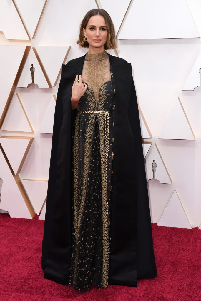 Natalie Portman, cape, oscars, red carpet, celebrity style, 92nd Annual Academy Awards, Arrivals, Los Angeles, USA - 09 Feb 2020Wearing Dior Same Outfit as catwalk model *10530884bh