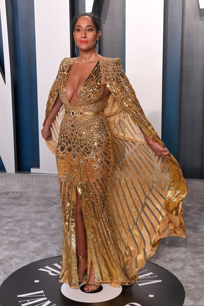 Tracee Ellis Ross, gold dress, plunging gown, sandals, Vanity Fair Oscar Party, Arrivals, Los Angeles, USA - 09 Feb 2020Wearing Zuhair Murad Same Outfit as catwalk model *10532162d