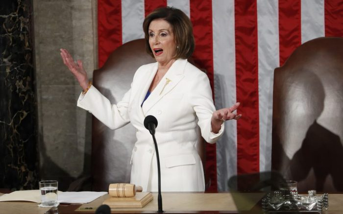 nancy pelosi, white dress, Speaker of the House Nancy Pelosi gestures as members of Congress await the arrival of US President Donald J. Trump to deliver his State of the Union address during a joint session of congress in the House chamber of the US Capitol in Washington, DC, USA 04 February 2020. President Trump delivers his address as his impeachment trial is coming to an end with a final vote on the 2 articles of impeachment scheduled for 05 February.US President Donald J. Trump delivers his State of the Union address, Washington, USA - 04 Feb 2020