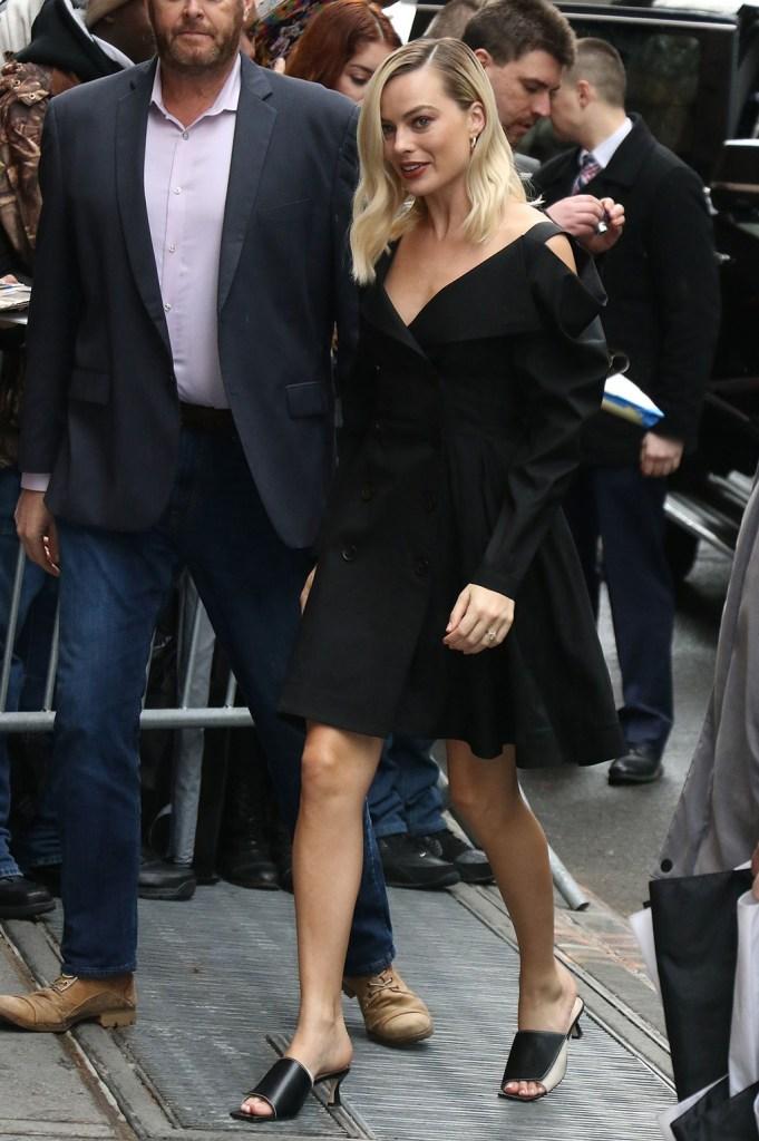 margot robbie, proenza schouler dress, lbd, wandler sandals, Margot Robbie'The View' TV show, New York, USA - 04 Feb 2020