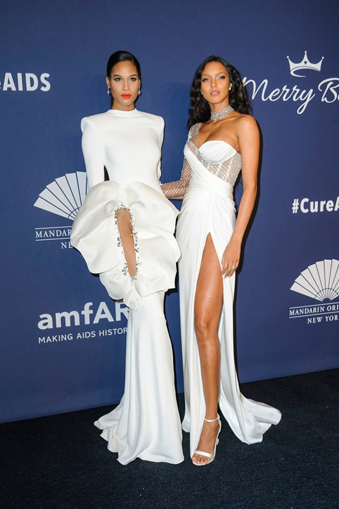 Cindy Bruna, left, and Lais Ribeiro attend the amfAR Gala New York AIDS research benefit at Cipriani Wall Street, in New YorkamfAR Gala 2020, New York, USA - 05 Feb 2020